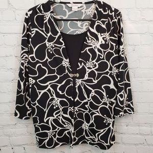 TanJay Black and White One Piece Blouse